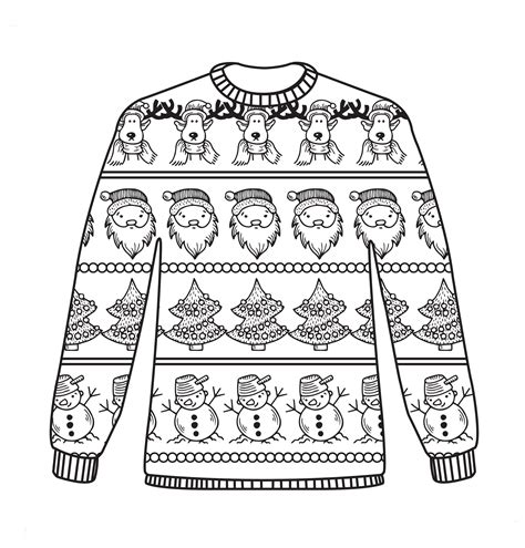 Free Christmas Colouring Sheets Coloring Pages Fashion Christmas Christmas Colors Jumper Day Template Letter