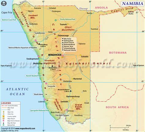 printable road map of namibia namibia map map of namibia