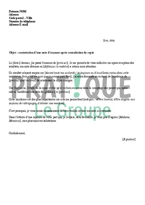 Lettre De Motivation De Redoublement Lettre De Contestation D Une Note D Examen Apr 232 S Consultation De Copie Pratique Fr