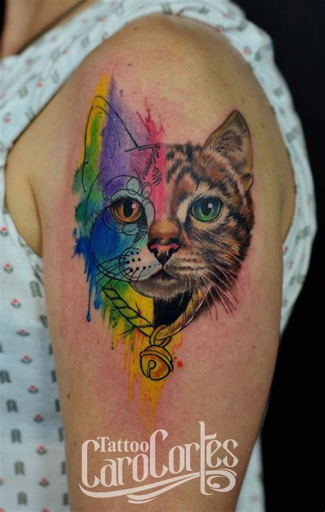 watercolor tattoos cat wow the watercolor detail and colors s