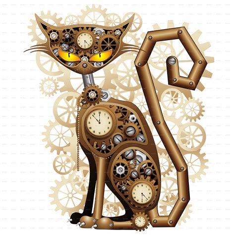 steampunk cat vintage style by bluedarkat graphicriver