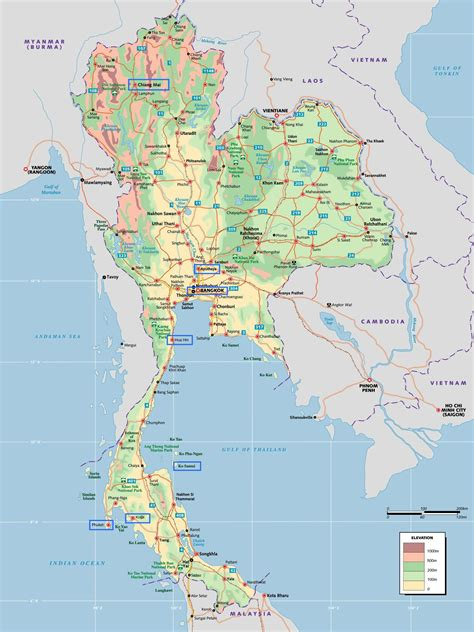 What A Map maps of thailand detailed map of thailand in