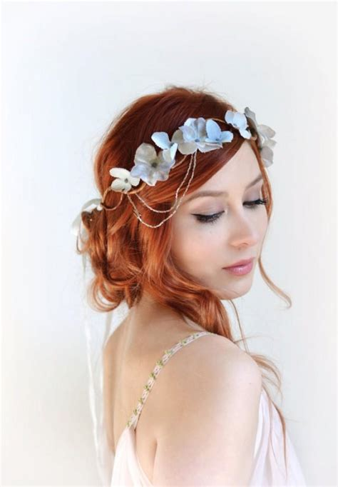 Hochzeitsfrisur Undone by Silver Flower Crown Wedding Headpiece Grey Floral Crown