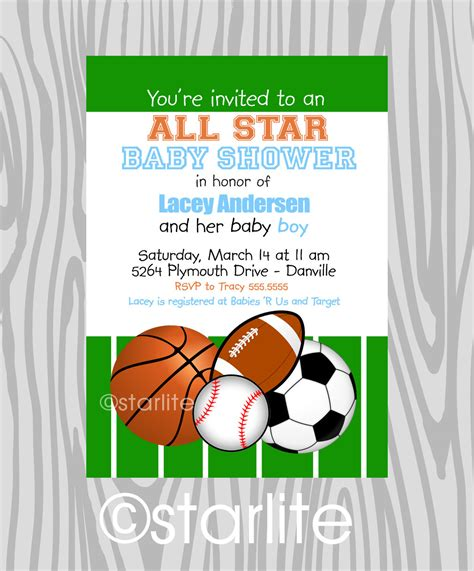 themed invitation template invites for a boy baby shower sports theme future