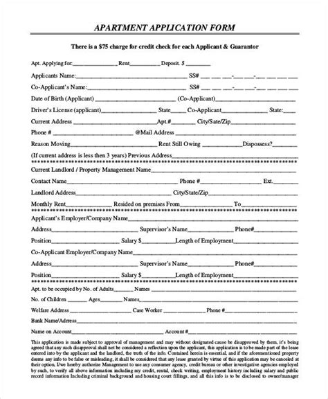 Apartment Application Documents 9 Apartment Application Form Sles Free Sle