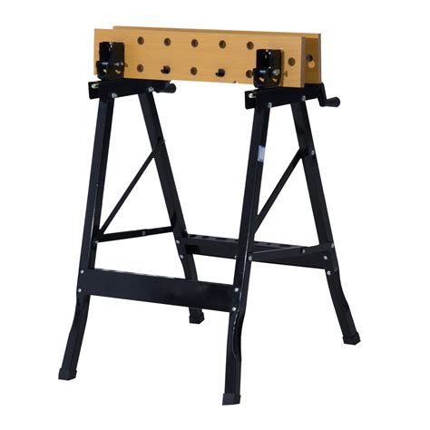 folding work bench homcom folding portable height adjustable mdf top