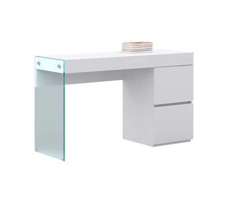 White Gloss Office Desk Modern High Gloss White Lacquer Office Desk With Glass Leg Officedesk