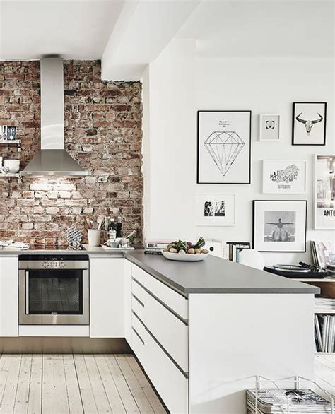 kitchen with brick wall modern white kitchen with brick wall