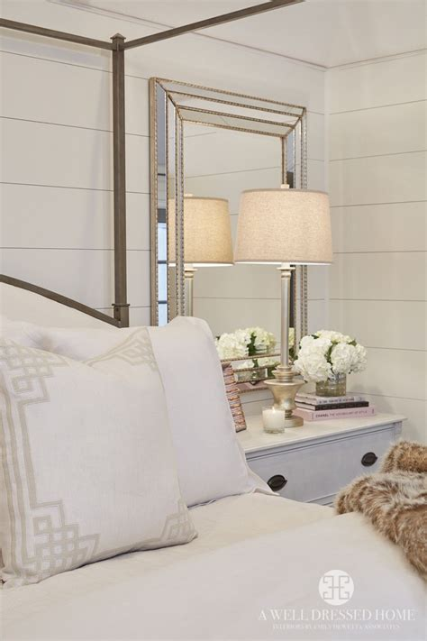 mirror behind bed pretty bedroom shiplap walls mirror bedsides iron bed