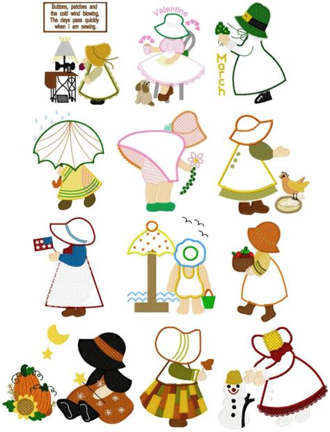 sunbonnet sue applique sunbonnet sue appliqu 233 months of the year sunbonnet sue