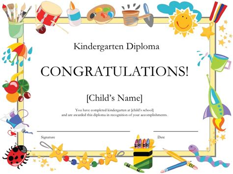 moving up certificate templates kindergarten diploma