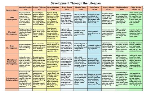 lifespan development chart child and family development