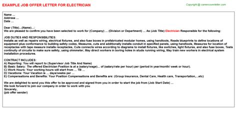 appointment letter sle for electrician electrician title