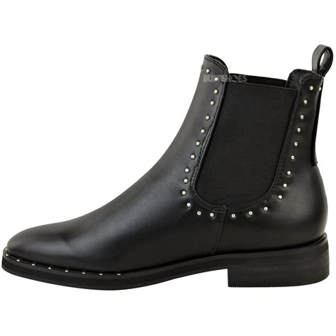 Sneaker Boots Stud womens flat studded chelsea ankle boots casual elastic pull on shoes size ebay