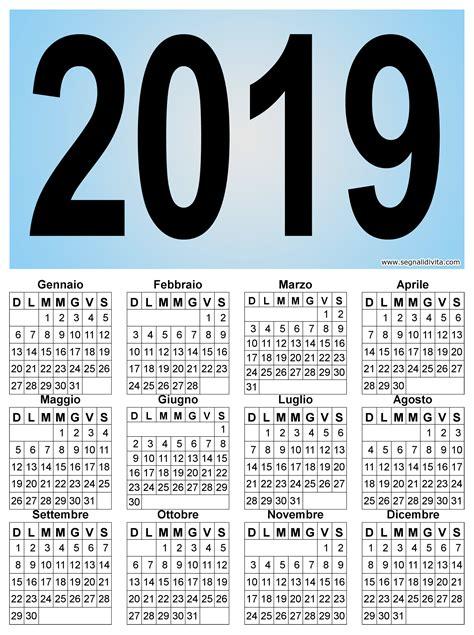 calendario verticale grafico del