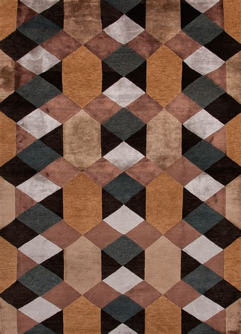 Modern Geometric Pattern Wool Silk Knotted Rug Modern Pattern Rugs