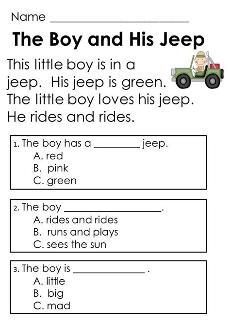 free printable reading comprehension worksheets multiple choice questions kindergarten guided reading comprehension passages and