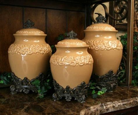 tuscan design butterscotch large canister s 3 new