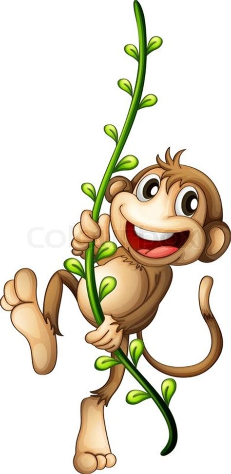 cartoon monkey swinging on a vine a monkey hanging on a vine stock vector colourbox