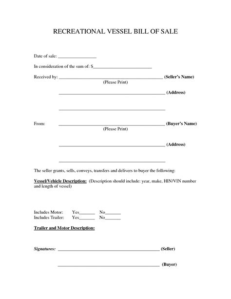 simple printable vehicle bill of sale printable recreational vessel vehicle bill of sale form