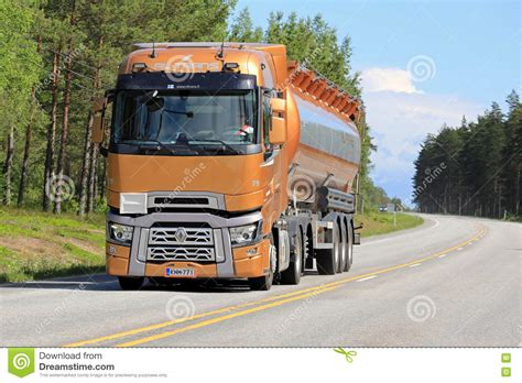 new renault trucks t semi tanker on the road editorial