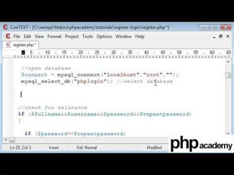 tutorial php register php tutorials register login user registration part 6