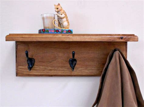 Wall Coat Rack Shelf by Wall Coat Rack Shelf Wood Coat Rackstained Shelf With Hooks