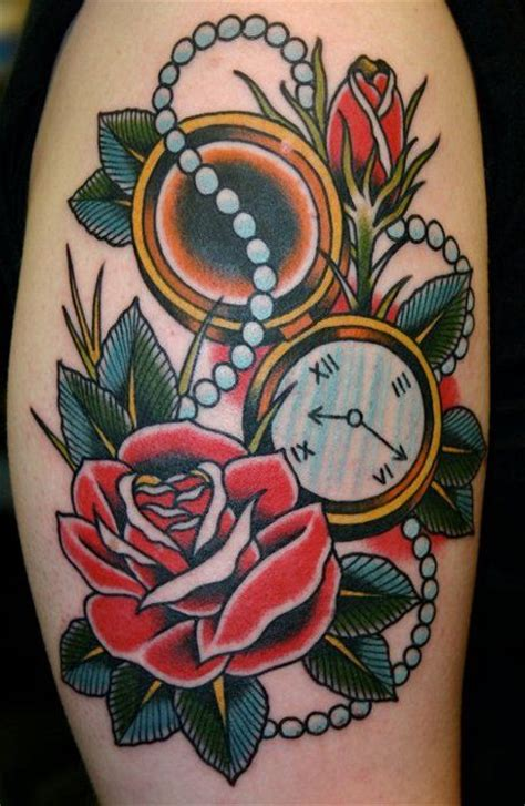 traditional rose tattoo meaning school with pocket and pearl