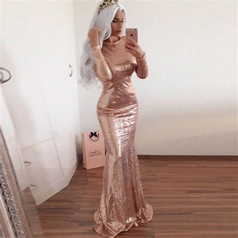 Sequined Prom Dress mermaid sleeves open back gold sequined
