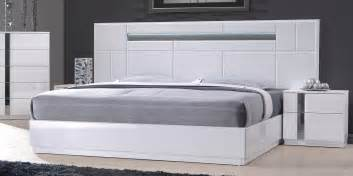White Contemporary Bedroom Sets Monte Carlo King Size White Lacquer Chrome 5pc Bedroom Set W Light Ebay