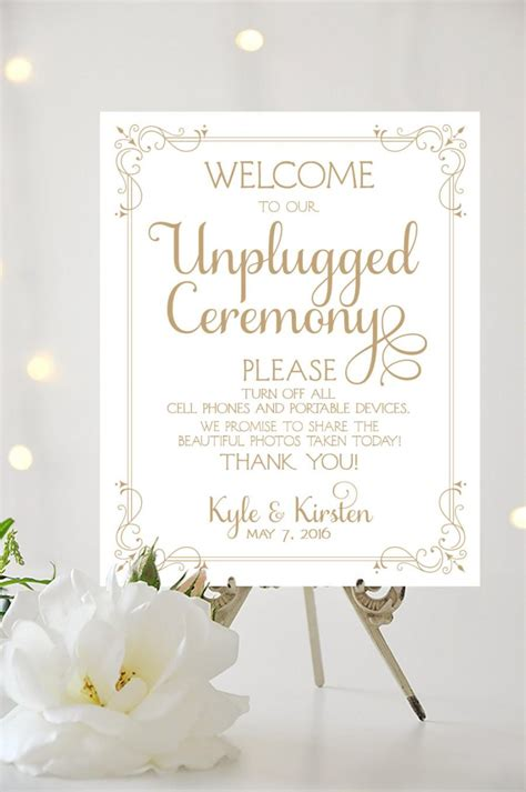 Wedding Sign Border by Wedding Welcome Sign Unplugged Ceremony Various Sizes
