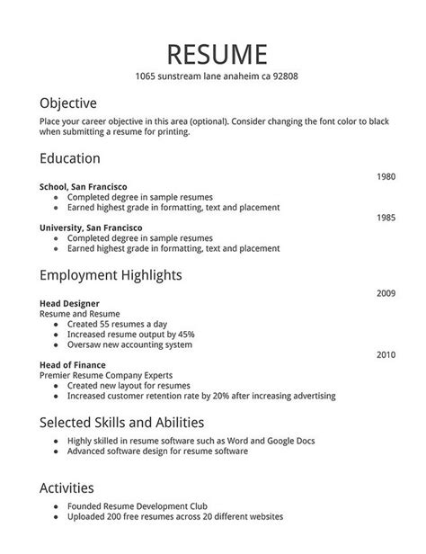 simple resume format for freshers doc basic resume format free resume templates