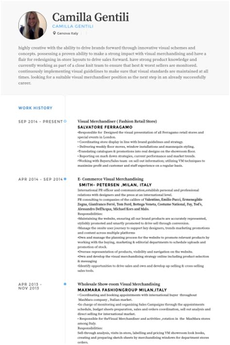 Visual Merchandising Resume Sle by Merchandiser Resume Sles Visualcv Resume Sles Database