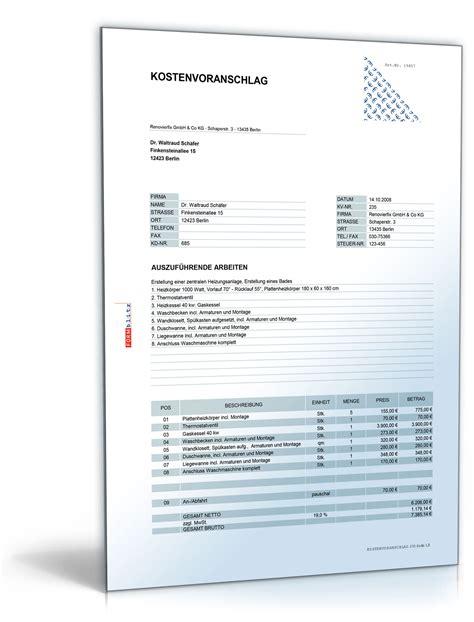 Angebot Vorlage Trockenbau Kostenvoranschlag Angebot F 252 R Heizungs Gas Und Sanit 228 Rarbeiten