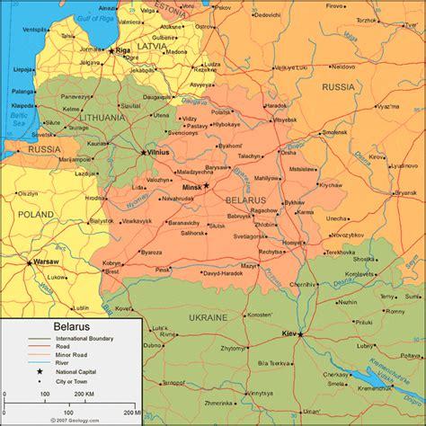 political map of belarus belarus map and satellite image