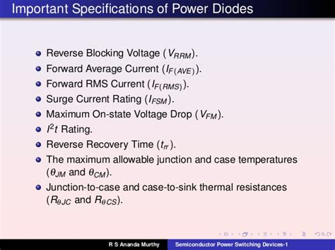 diode forward current rating lecture 4 semiconductor power switching devices 1