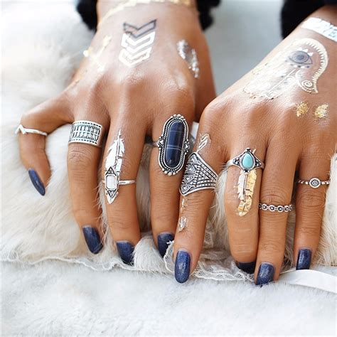 Kalung Vintage Unik Etnik Ethnic Fashion Wanita cincin midi ring turkish vintage 5 set silver jakartanotebook