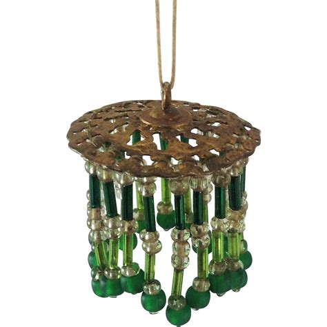 Green Beaded Chandelier Doll House Chandelier Light Shade Beaded Green Glass From Becks Vintage Treasure On Ruby
