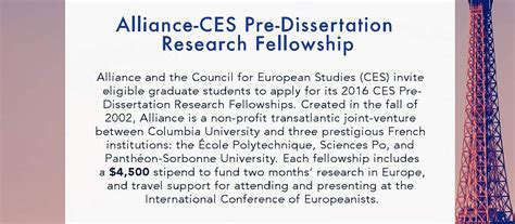dissertation research fellowship alliance ces pre dissertation research fellowship