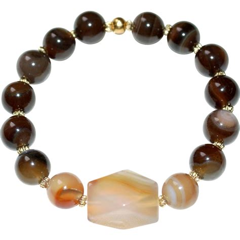 Brown Carnelian brown line and carnelian agate bracelet from delmire on