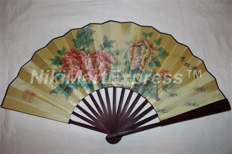 oriental fan wall hanging large oriental bamboo silk hand folding fan wall art