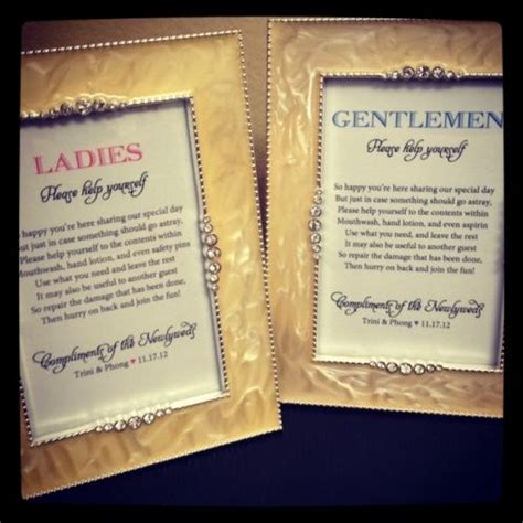 wedding bathroom basket sign wording wedding the guest and compliments of on pinterest