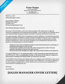 cover letter sle letter sales manager cover letter sle resume companion