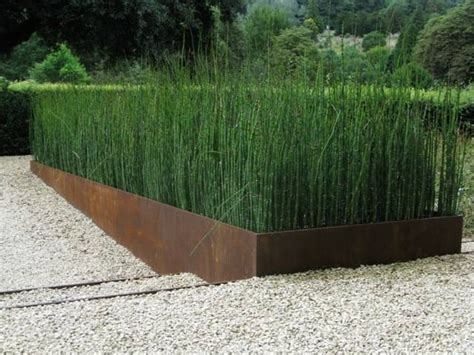 Rusted Steel Planters by Corten Planter And Horsetail New Border Materials Planters