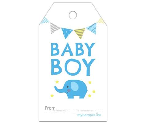 free printable baby shower favor tags template this boy baby blue elephant gift tag and other