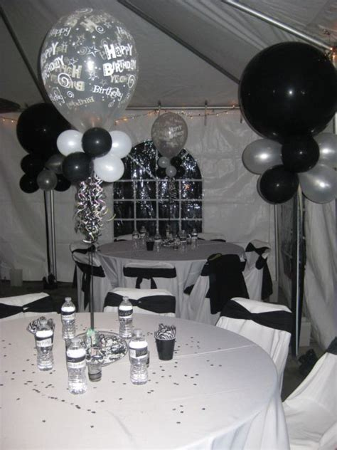 75th birthday black & white party decoration   Black and