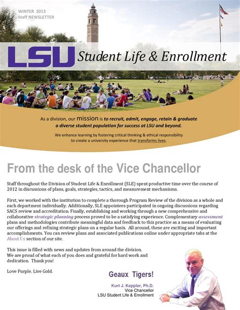 sle company newsletter winter 2013 lsu sle staff newsletter by lsu division of