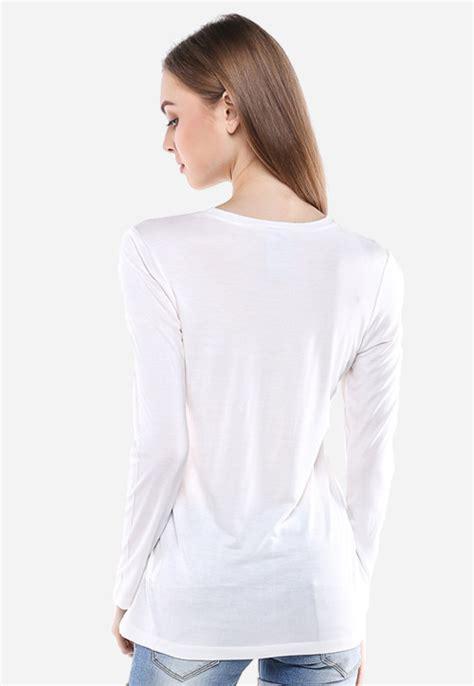 Lgs Kaos Wanita Lgs Putih regular fit kaos wanita putih gambar bunga lengan
