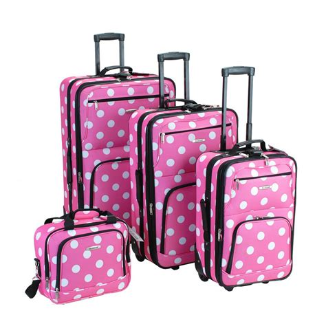rockland luggage dots 4 piece luggage set multiple blue rockland 4 piece luggage set f46 pink dot the home depot