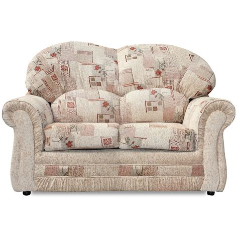 traditional settees rhea 2 seater sofa upholstered fabric settee w scroll